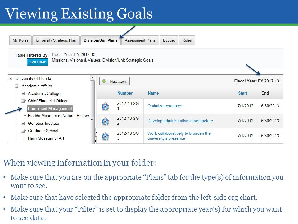 "Viewing Existing Goals When viewing information in your folder: Make sure that you are on the appropriate ""Plans"" tab for the type(s) of information y"