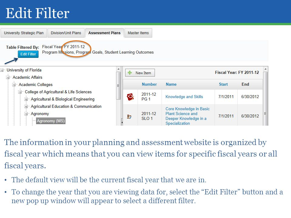 Edit Filter The information in your planning and assessment website is organized by fiscal year which means that you can view items for specific fisca