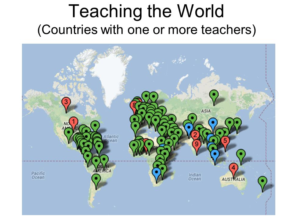 Teaching the World (Countries with one or more teachers)