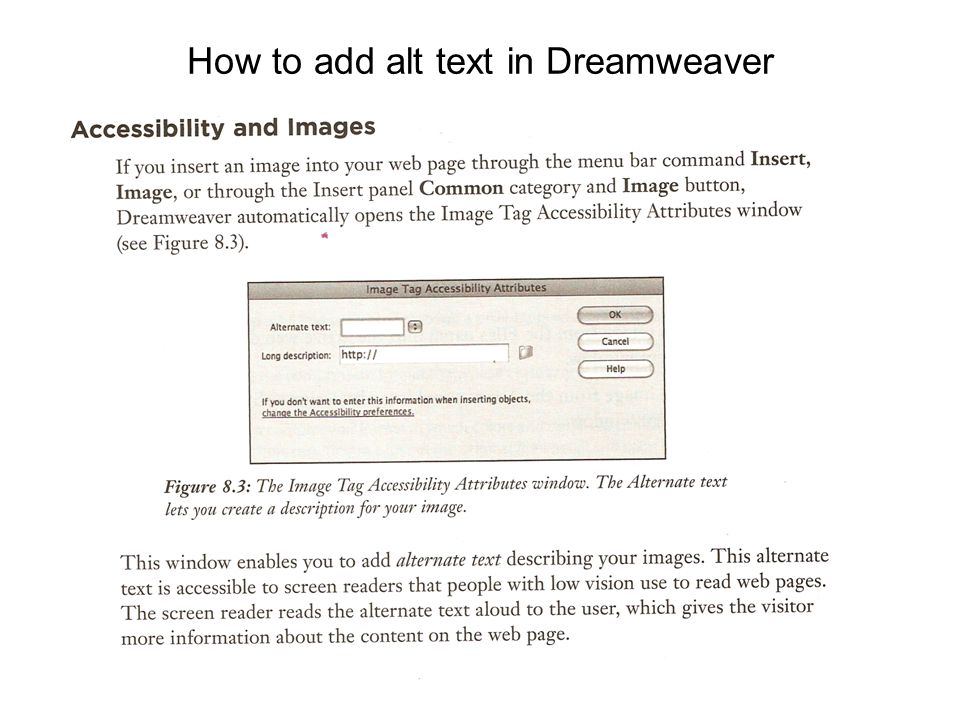 How to add alt text in Dreamweaver (continued)