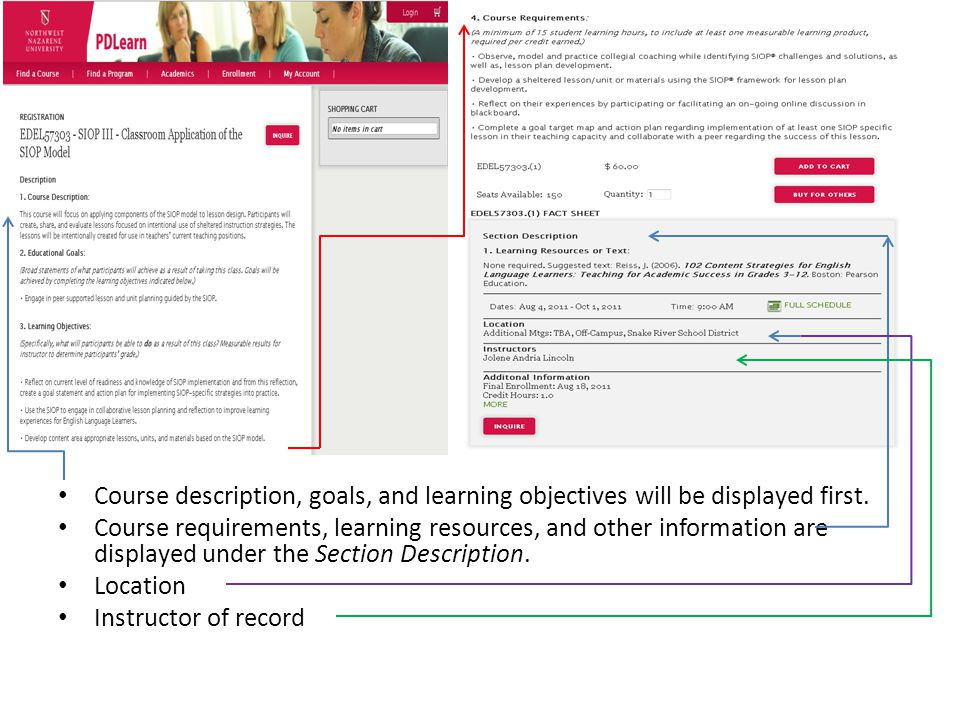 Course description, goals, and learning objectives will be displayed first.