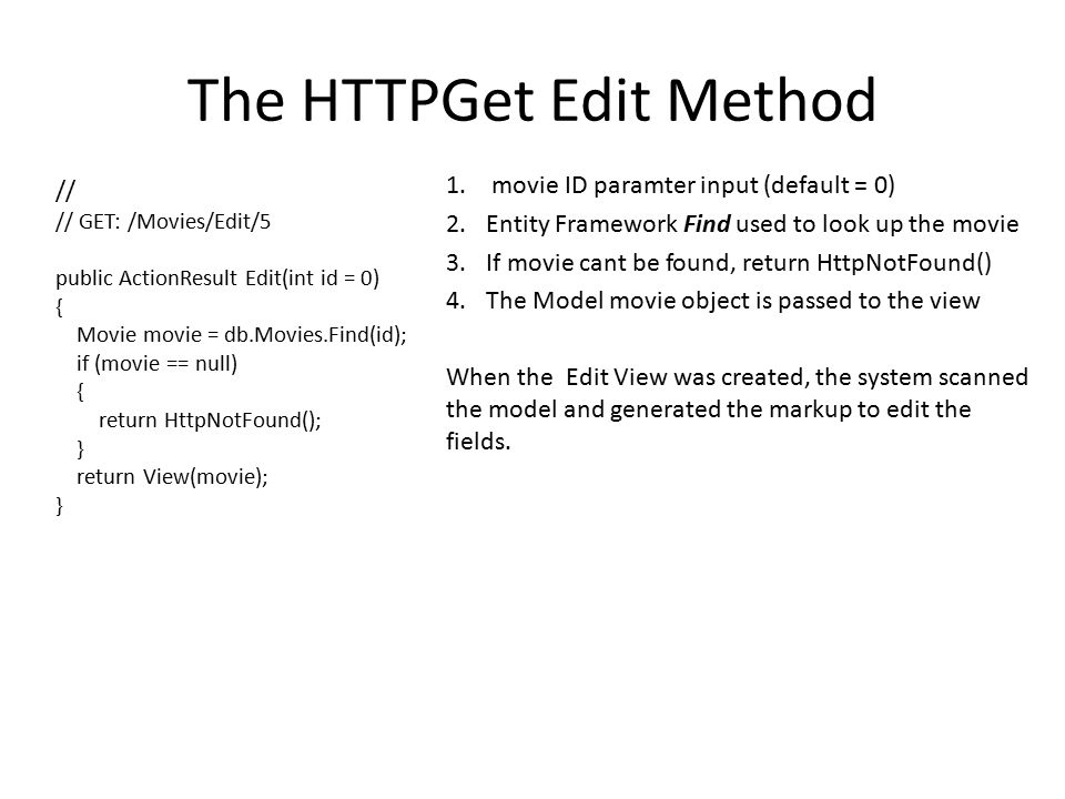 The HTTPGet Edit Method 1.