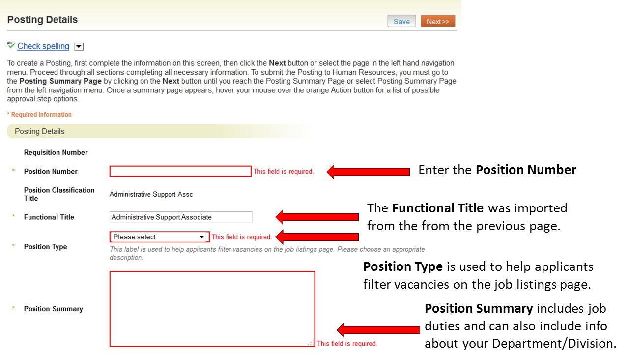 Enter the Position Number The Functional Title was imported from the from the previous page.