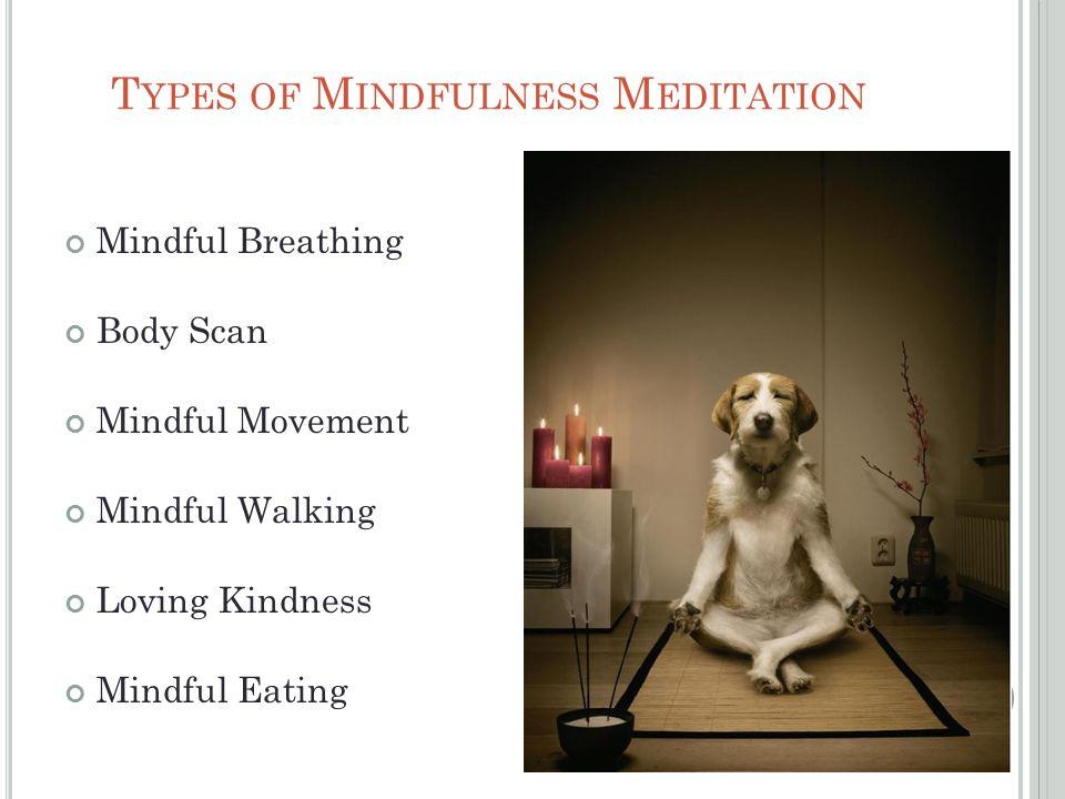 T YPES OF M INDFULNESS M EDITATION Mindful Breathing Body Scan Mindful Movement Mindful Walking Loving Kindness Mindful Eating