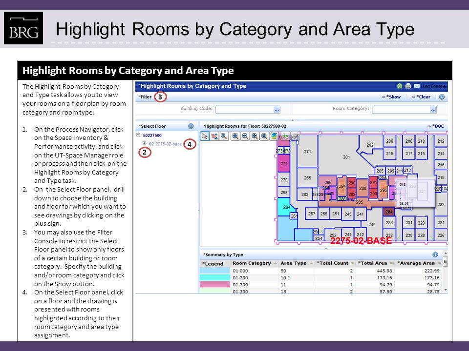 Highlight Rooms by Category and Area Type The Highlight Rooms by Category and Type task allows you to view your rooms on a floor plan by room category