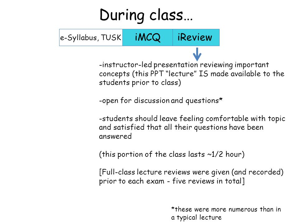 -instructor-led presentation reviewing important concepts (this PPT lecture IS made available to the students prior to class) -open for discussion and questions* -students should leave feeling comfortable with topic and satisfied that all their questions have been answered (this portion of the class lasts ~1/2 hour) [Full-class lecture reviews were given (and recorded) prior to each exam - five reviews in total] iMCQiReview e-Syllabus, TUSK During class… *these were more numerous than in a typical lecture