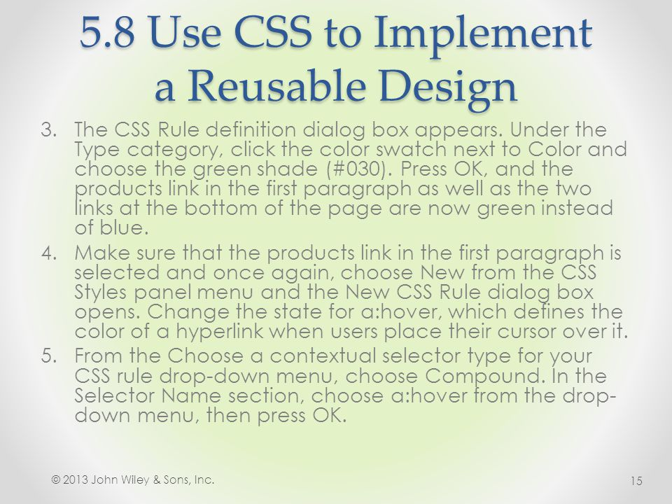 5.8 Use CSS to Implement a Reusable Design 3.The CSS Rule definition dialog box appears.