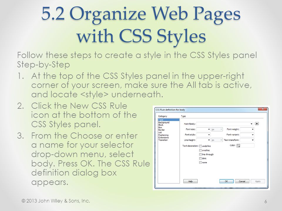5.8 Use CSS to Implement a Reusable Design 7.Choose File > Save; then choose File > Preview in Browser and choose a browser from the list to launch it.