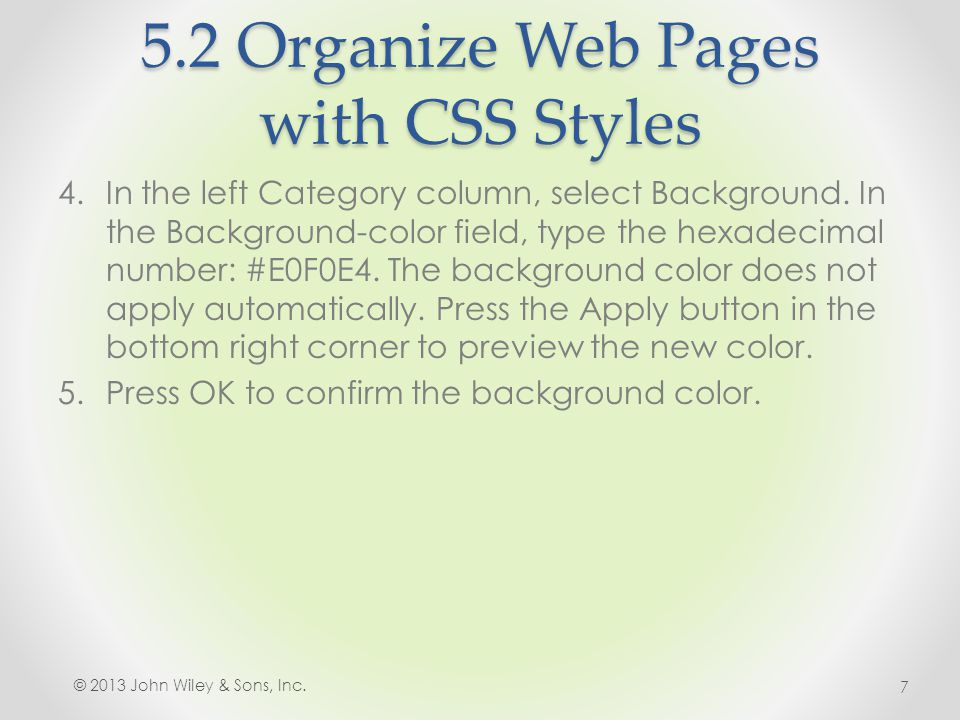 5.2 Organize Web Pages with CSS Styles 6.In the list of rules in the CSS Styles panel, double-click the.copyright class as (right) to edit these properties.