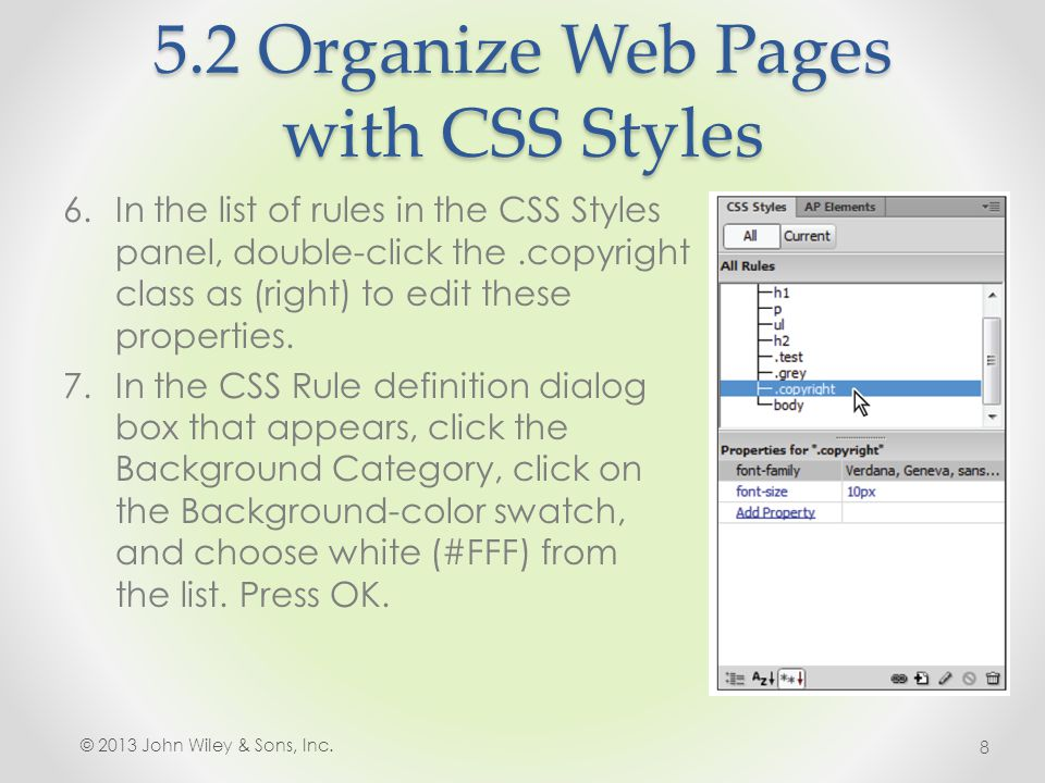 5.2 Organize Web Pages with CSS Styles 3.In the field labeled ID, type footer.