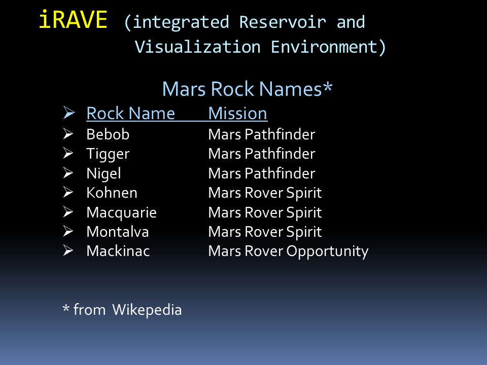 Mars Rock Names*  Rock NameMission  BebobMars Pathfinder  TiggerMars Pathfinder  NigelMars Pathfinder  KohnenMars Rover Spirit  MacquarieMars Rover Spirit  MontalvaMars Rover Spirit  MackinacMars Rover Opportunity * from Wikepedia iRAVE (integrated Reservoir and Visualization Environment)