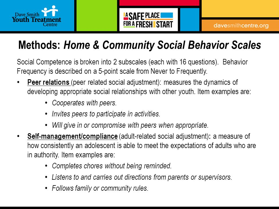 Methods: Home & Community Social Behavior Scales Social Competence is broken into 2 subscales (each with 16 questions).