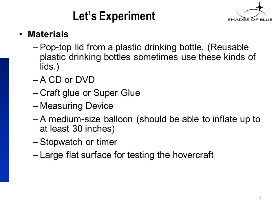 Let's Experiment Materials –Pop-top lid from a plastic drinking bottle.