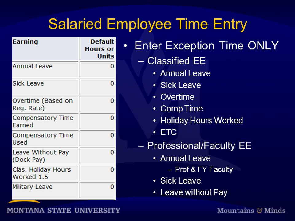 Salaried Employee Time Entry Enter Exception Time ONLY –Classified EE Annual Leave Sick Leave Overtime Comp Time Holiday Hours Worked ETC –Professional/Faculty EE Annual Leave –Prof & FY Faculty Sick Leave Leave without Pay