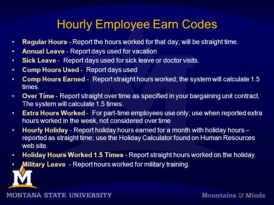 Hourly Employee Earn Codes Regular Hours - Report the hours worked for that day; will be straight time.