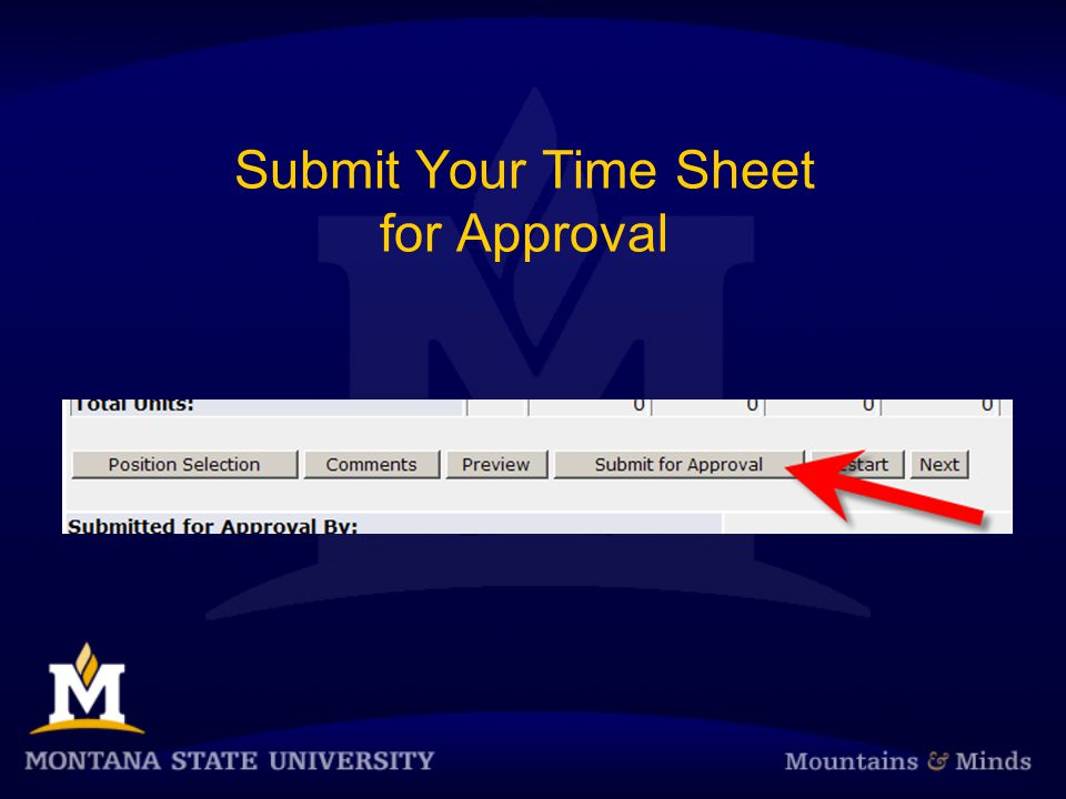 Submit Your Time Sheet for Approval
