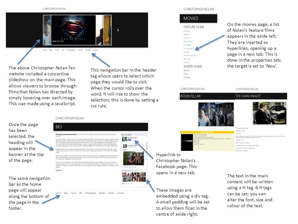 The above Christopher Nolan fan website included a concertina slideshow on the main page.