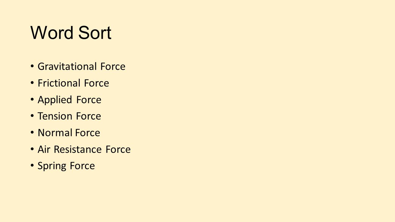 Word Sort Gravitational Force Frictional Force Applied Force Tension Force Normal Force Air Resistance Force Spring Force