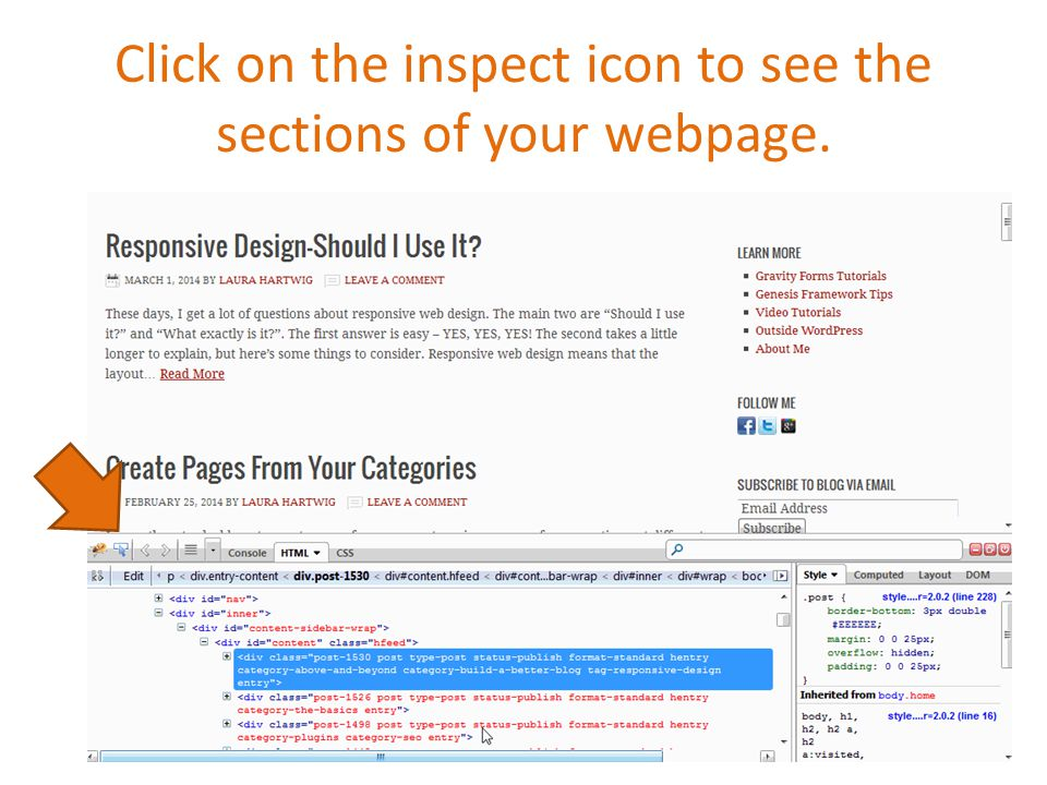 Click on the inspect icon to see the sections of your webpage.