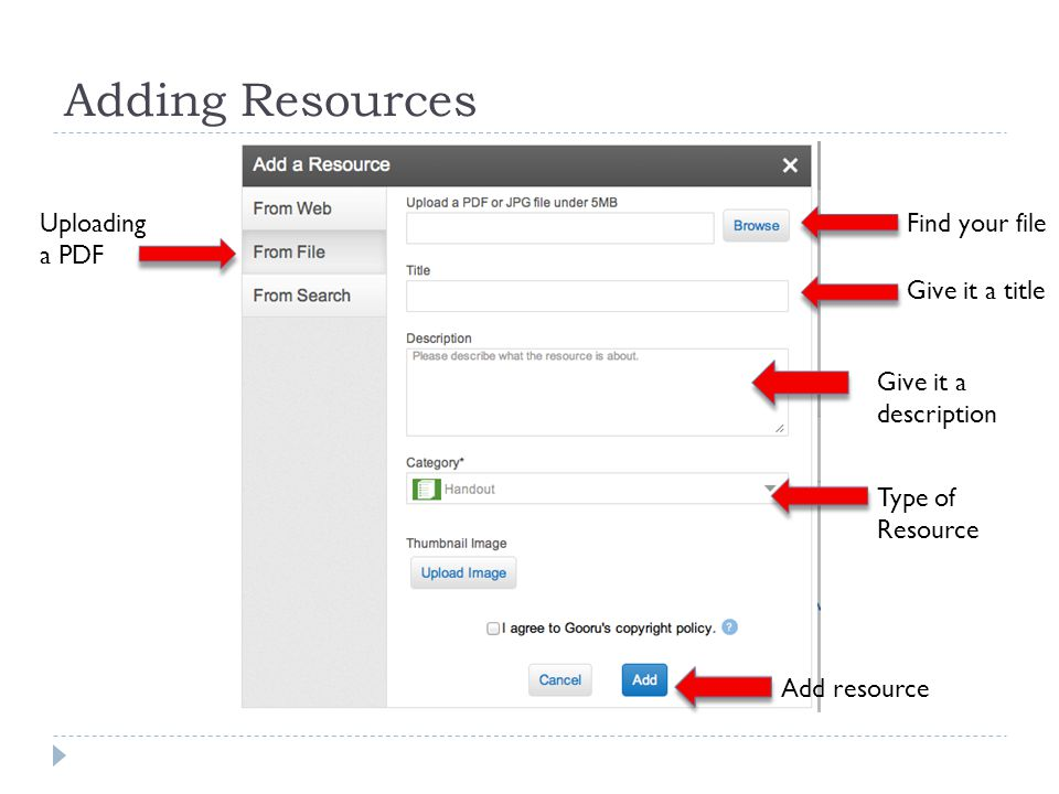 Adding Resources Uploading a PDF Find your file Give it a title Give it a description Add resource Type of Resource