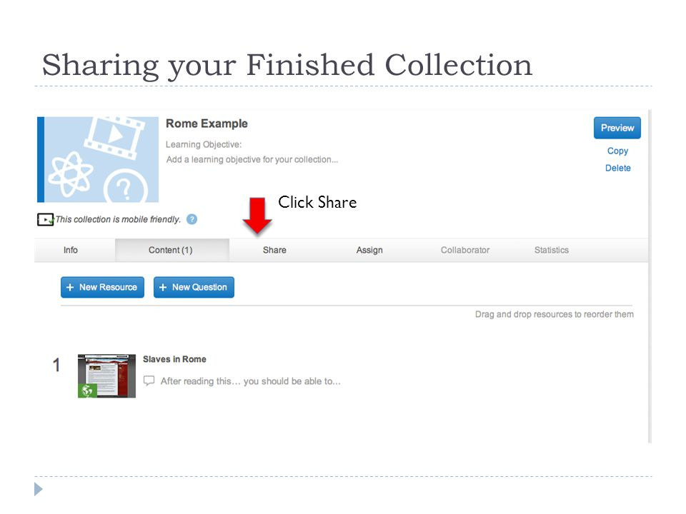 Sharing your Finished Collection Click Share