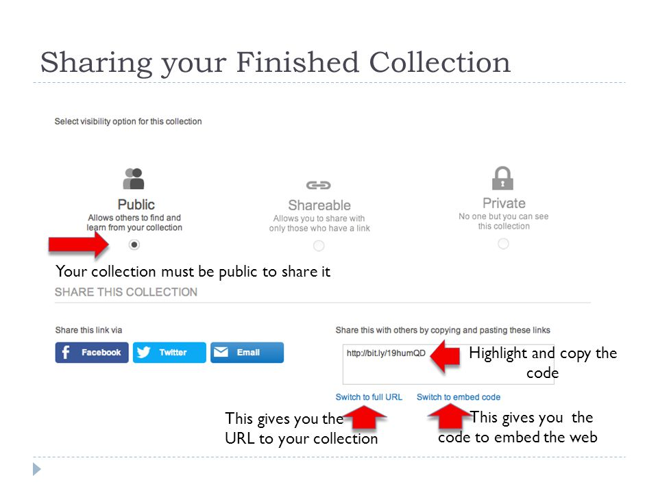 Sharing your Finished Collection Your collection must be public to share it This gives you the URL to your collection This gives you the code to embed the web Highlight and copy the code