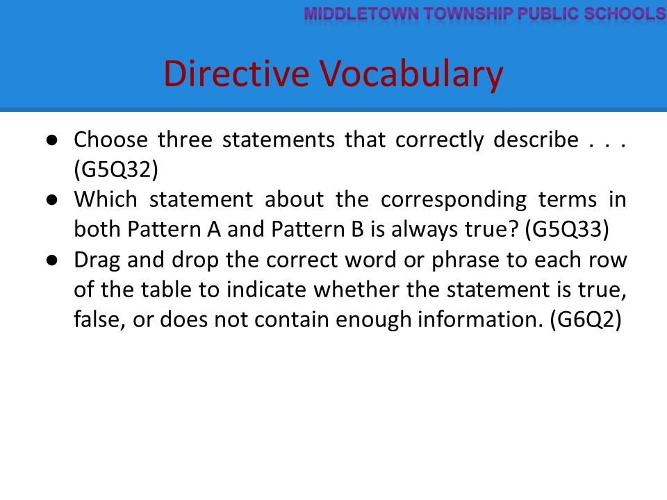 Directive Vocabulary ● Choose three statements that correctly describe...