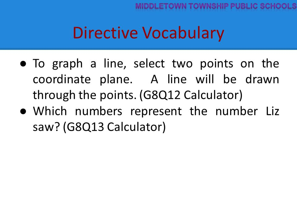 Directive Vocabulary ● To graph a line, select two points on the coordinate plane.