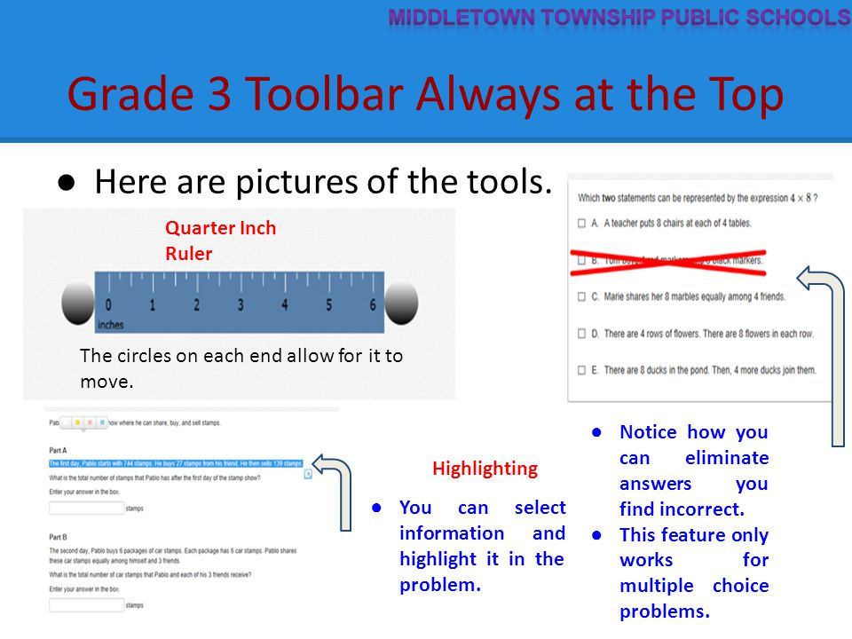 Grade 3 Toolbar Always at the Top ● Here are pictures of the tools. ● Notice how you can eliminate answers you find incorrect. ● This feature only wor