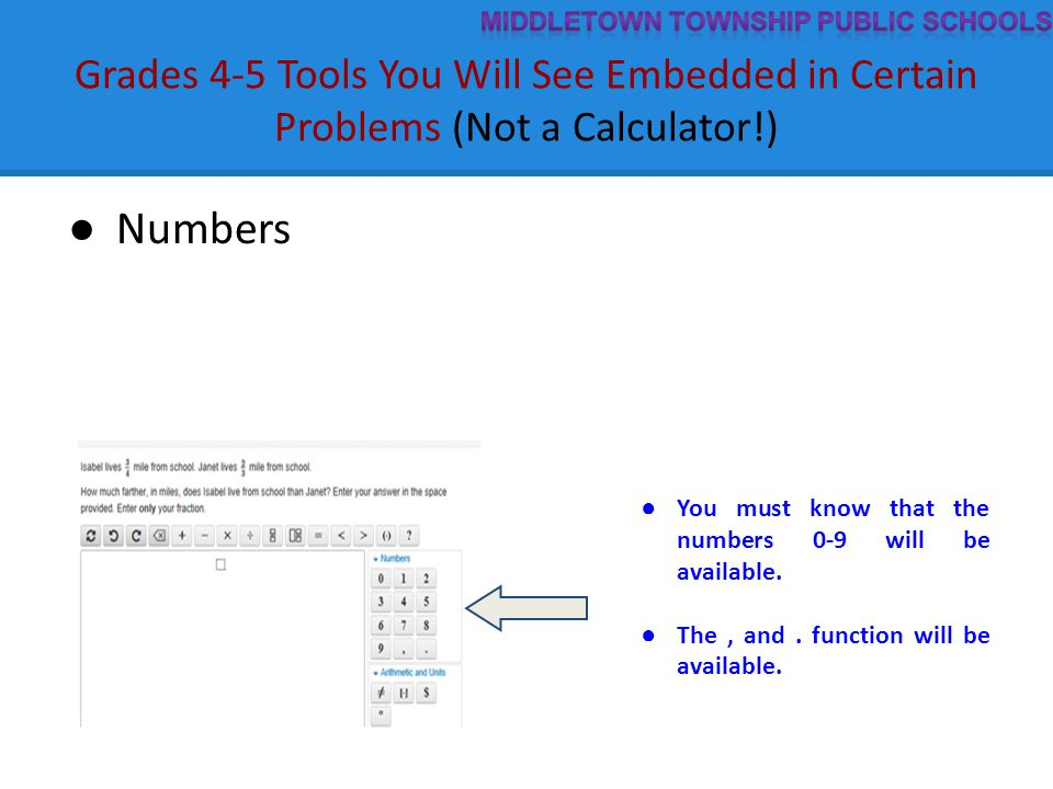 Grades 4-5 Tools You Will See Embedded in Certain Problems (Not a Calculator!) ● Numbers ● You must know that the numbers 0-9 will be available. ● The