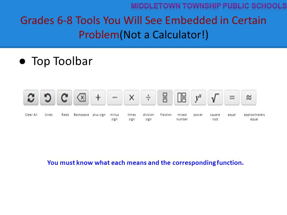 Grades 6-8 Tools You Will See Embedded in Certain Problem(Not a Calculator!) ● Top Toolbar Clear AllUndoRedoBackspaceplus signminus sign times sign division sign fractionmixed number powersquare root equalapproximately equal You must know what each means and the corresponding function.
