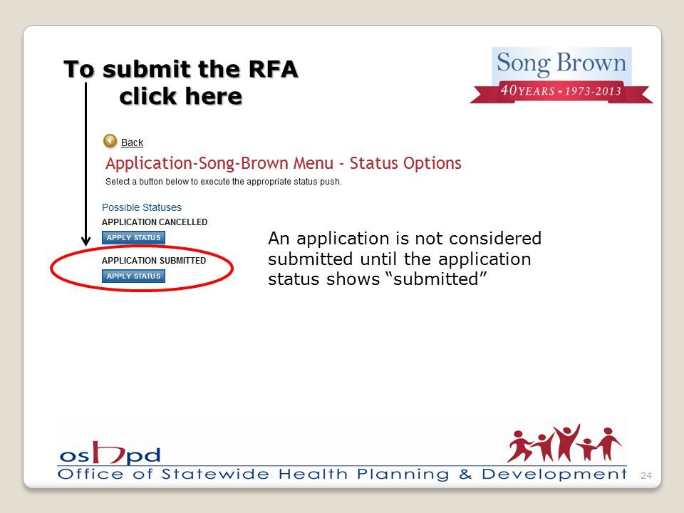 To submit the RFA click here 24 An application is not considered submitted until the application status shows submitted