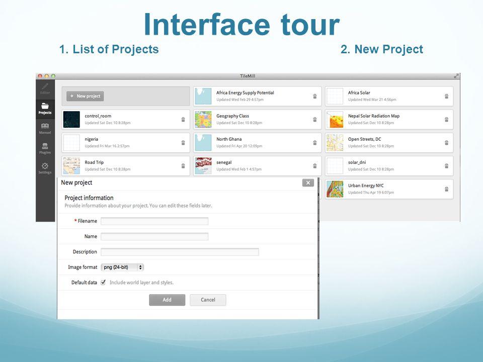 1. Main toolbar 2. Map Preview 3. Editing Tools 4. StyleSheet Editor Editing Interface