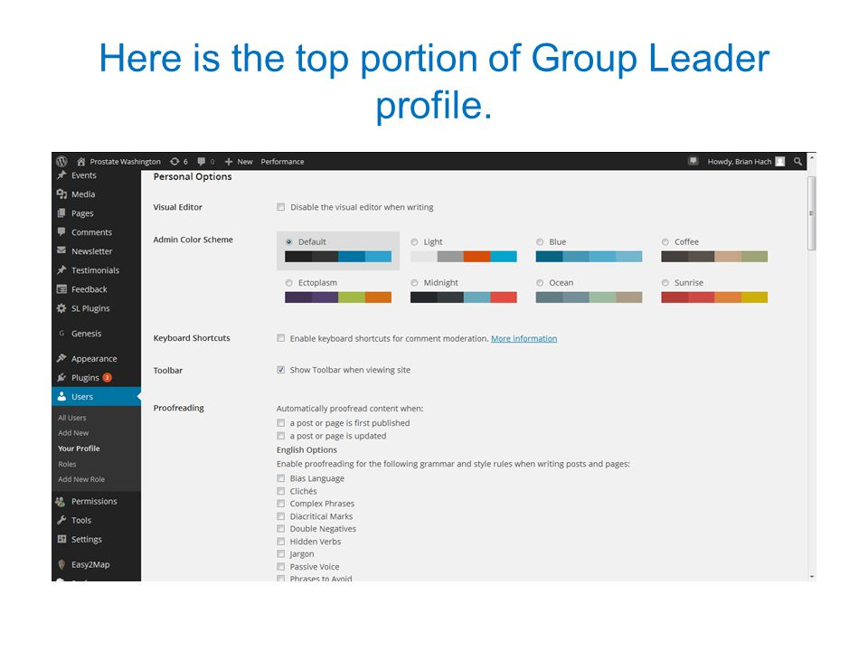 Here is the top portion of Group Leader profile.