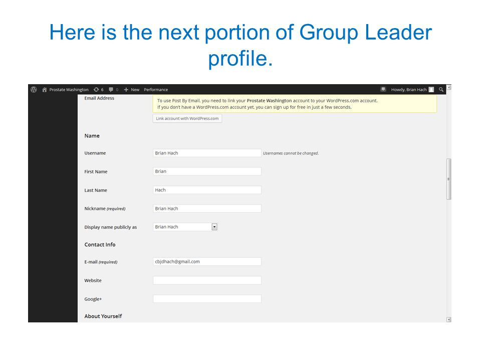 Here is the next portion of Group Leader profile.