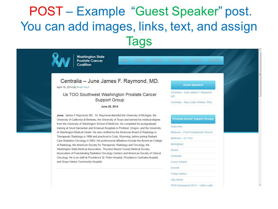 "POST – Example ""Guest Speaker"" post. You can add images, links, text, and assign Tags"