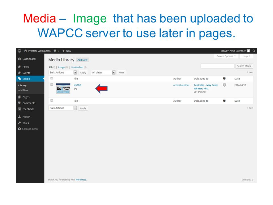Media – Image that has been uploaded to WAPCC server to use later in pages.