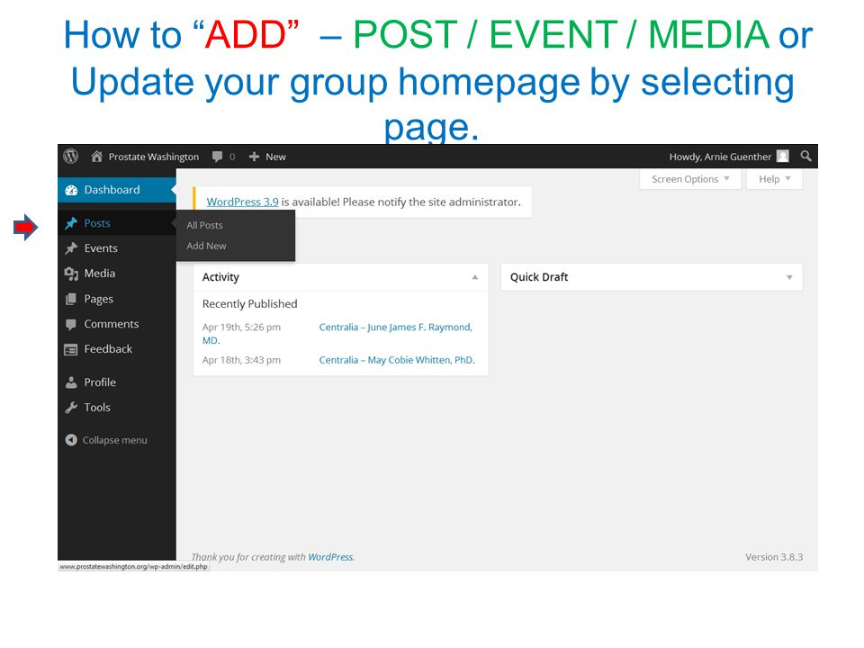"How to ""ADD"" – POST / EVENT / MEDIA or Update your group homepage by selecting page."