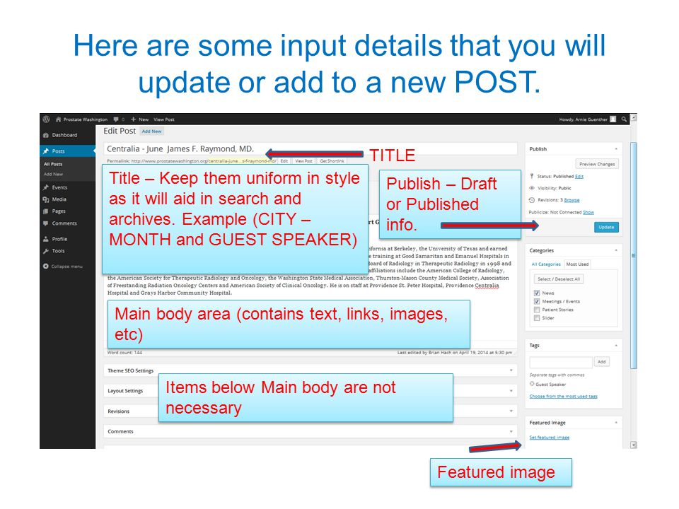 Here are some input details that you will update or add to a new POST. TITLE Title – Keep them uniform in style as it will aid in search and archives.