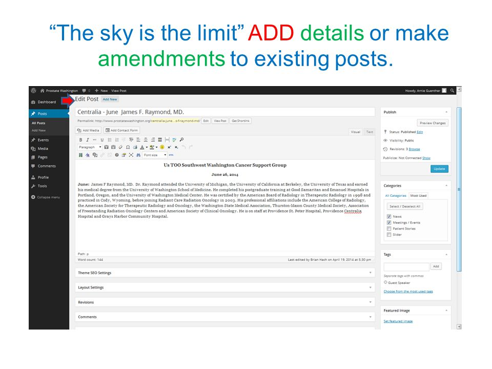The sky is the limit ADD details or make amendments to existing posts.