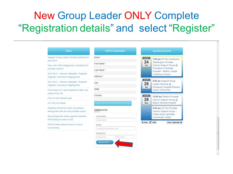 Page – NEVER CHANGE the TITLE.Changeable details for Group Homepage are inside blue box.