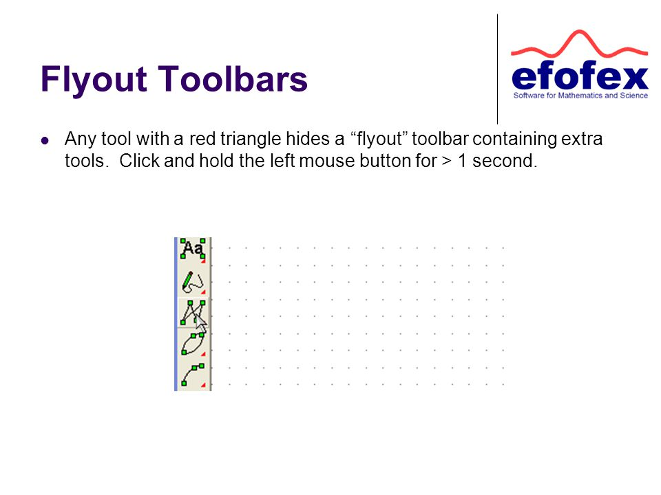 Flyout Toolbars Any tool with a red triangle hides a flyout toolbar containing extra tools.