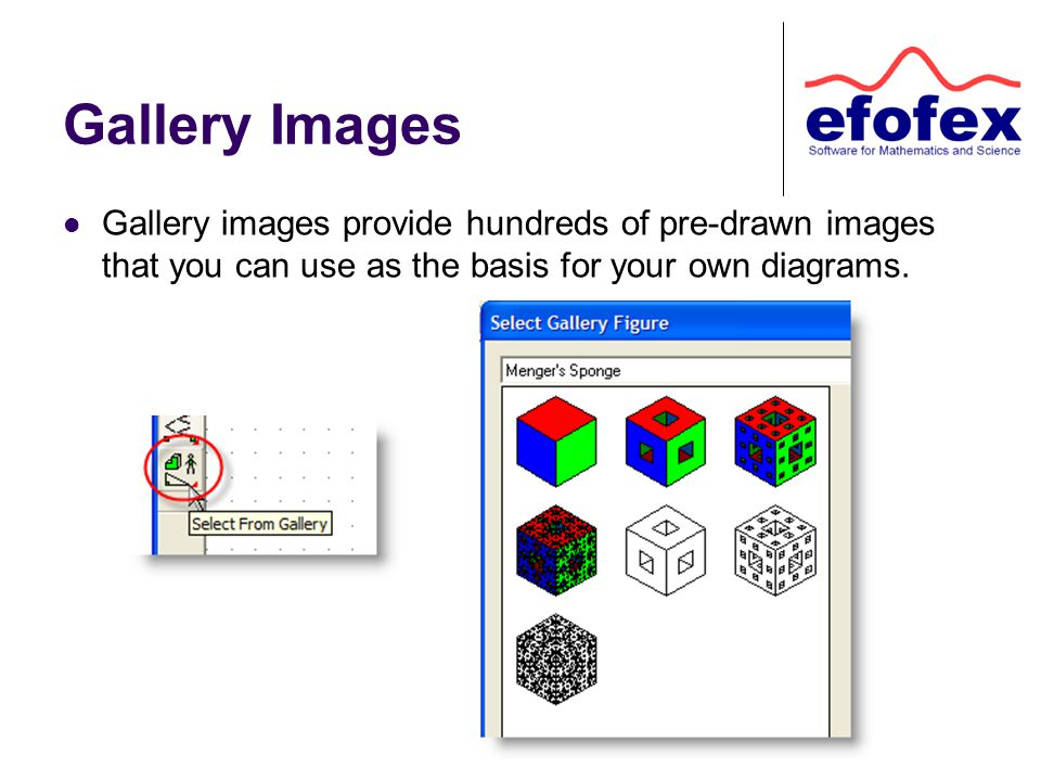 Gallery Images Gallery images provide hundreds of pre-drawn images that you can use as the basis for your own diagrams.