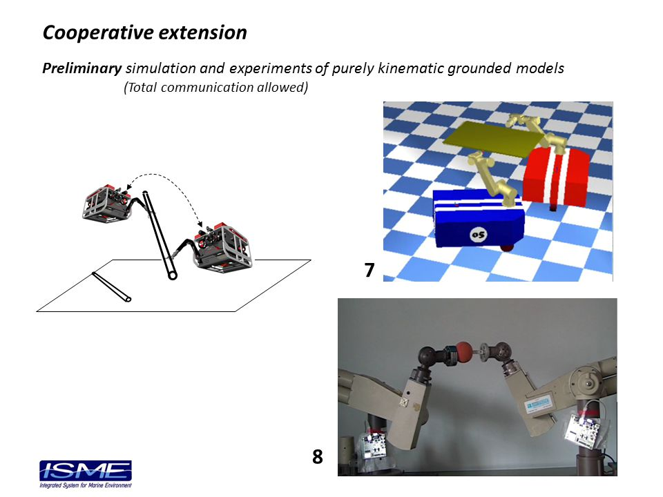 Preliminary simulation and experiments of purely kinematic grounded models (Total communication allowed) Cooperative extension 7 8