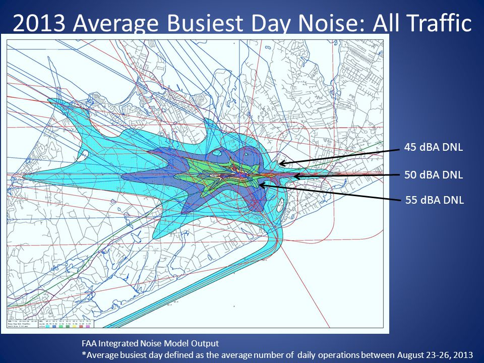 2013 Average Busiest Day Noise: All Traffic 45 dBA DNL FAA Integrated Noise Model Output *Average busiest day defined as the average number of daily operations between August 23-26, 2013 50 dBA DNL 55 dBA DNL