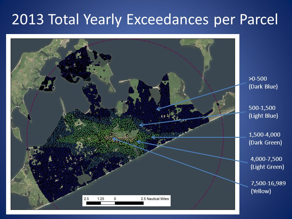 2013 Total Yearly Exceedances per Parcel >0-500 (Dark Blue) 500-1,500 (Light Blue) 1,500-4,000 (Dark Green) 4,000-7,500 (Light Green) 7,500-16,989 (Yellow)