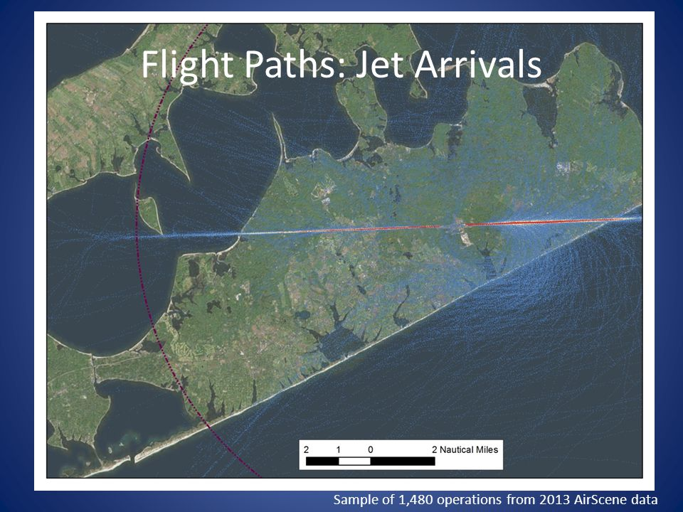 Flight Paths: Jet Arrivals Sample of 1,480 operations from 2013 AirScene data