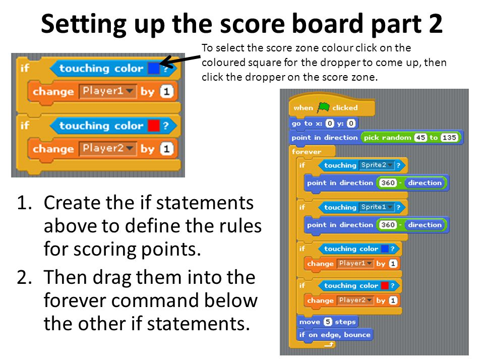Setting up the score board part 2 1.Create the if statements above to define the rules for scoring points. 2.Then drag them into the forever command b