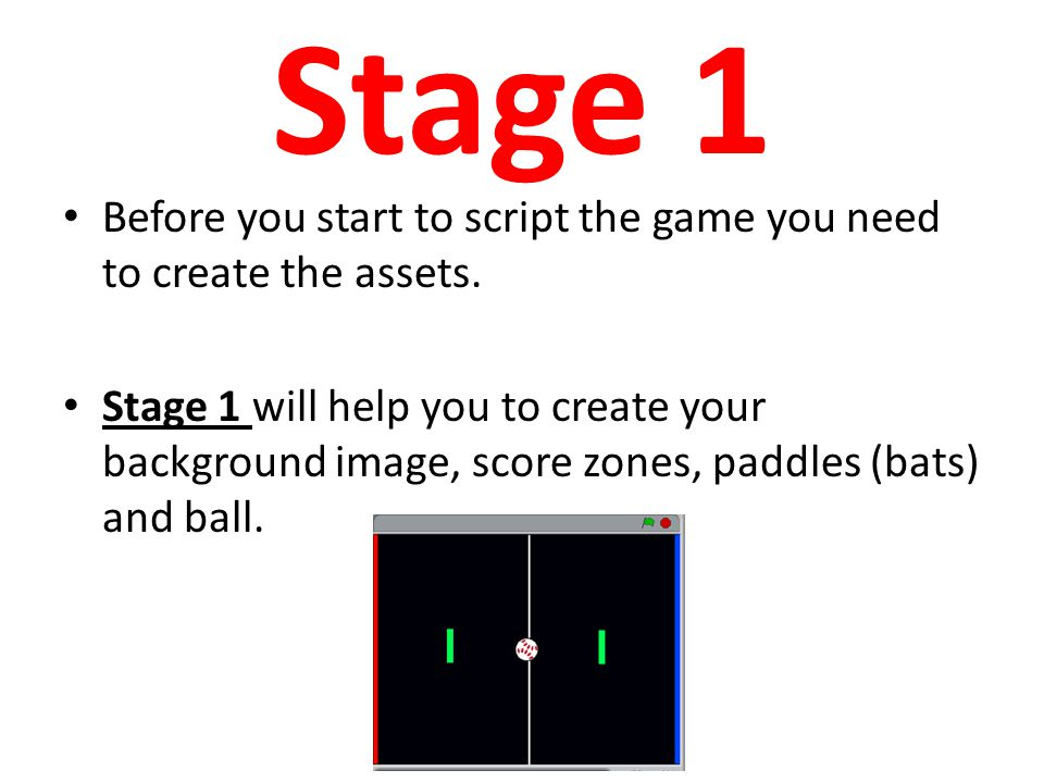 Stage 1 Before you start to script the game you need to create the assets.