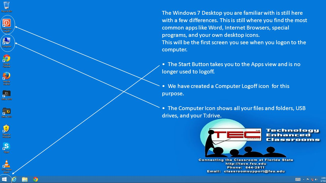 The Windows 7 Desktop you are familiar with is still here with a few differences.